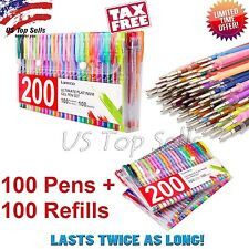 200 Pc Color Gel Pen Set Coloring Pens Glitter Metallic Pastel Neon +100 REFILLS