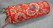 Corded Bolster Pillow made w Ralph Lauren Villa Martine Red, White & Blue Floral
