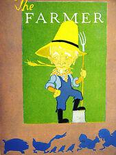 Elizabeth Cadie 1925 FARMER w PIG CHICKEN DUCKS CHICKS Vintage Print Matted