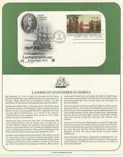# UX98 Postal Card LANDING OF OGLETHORPE IN GA. 1983 Artcraft First Day Cover
