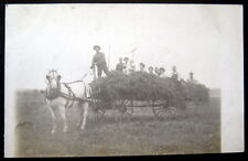 **1900's HAY WAGON~FARMING~HORSE PULLED~PEOPLE ~  RPPC