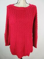 Talbots Womens Size M Red Pullover Cable Knit Tunic Sweater Scoop Neck