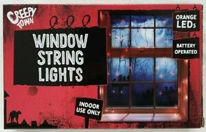 Halloween - Window String Lights - Orange LEDs - Indoor Use - Brand New