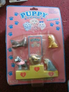 Vintage/Collectable Puppy In My Pocket with yellow podium inc 5 dogs sealed (2)