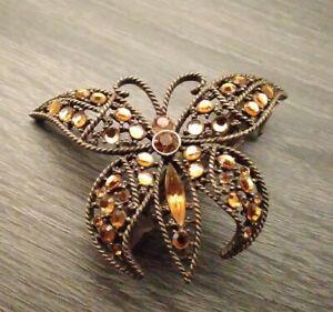 Vintage KIRKS FOLLY Butterfly Hair Barette/ Clip (antique tone)