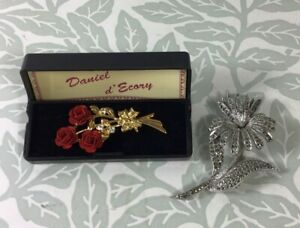 Vintage Bundle of Brooches inc Daniel d'Ecory Rose and Diamante Flower