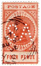 (I.B) Australia Postal : South Australia 4d (SG 281) SA perfin