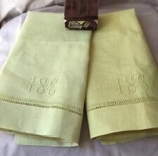 2 Vtg Antique Art Deco Irish Yellow Linen Runners Towel Monogrammed Hemstitched