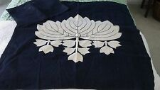 Two vintage Japanese boro deep indigo textiles with large family crest.Old patch