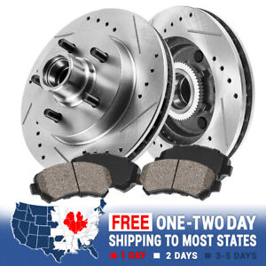 For Chevy S10 Blazer Pickup Jimmy Front Drill Slot Brake Rotors +Ceramic Pads