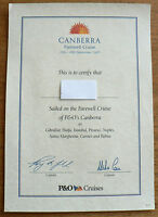 P&O  SS CANBERRA - CERTIFICATE OF SAILING ON FAREWELL CRUISE 10-30 SEPT 1997