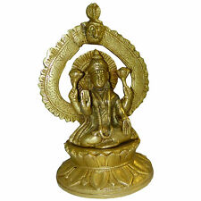 Figura latón Lakshmi 21cm cobra serpiente arco diosa hindú prosperidad India