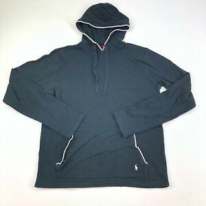 Polo Ralph Lauren Sleepwear Shirt Mens Medium Black Hood Long Sleeve Thermal