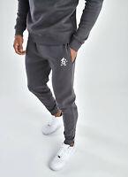 GYM KING Mens Fleece Slim Joggers Tracksuit Designer Jogging Bottoms Basis Grey