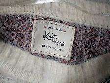 """COTTON-ON FluffyWhiteBlkRed""""X""""SweaterSzMasNEW"""