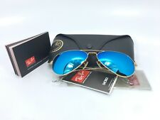 free new  ! *Ray*Ban* Aviator *RB3025 112/17 58/14 Gold Blue Mirror Lens 58mm