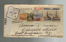 1942 Guadalajara Mexico censored Airmail cover to Australia Jorge Gleason