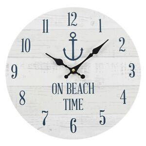 ON BEACH TIME wall clock. Large 34cm seaside - beach themed clock.