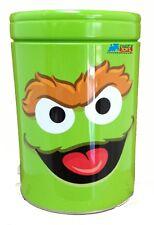 Sesame Street Oscar The Grouch Round Tin Coin Can Bank