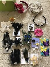 ICING & CLAIRE'S LOT OF 20 JEWEL FEATHER  RHINESTONE HAIR CLIPS PINS HEAD BANDS