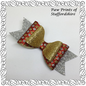 SALE: Silver, Gold & Red Spotty Glitter Hair Bow On Alligator Clip