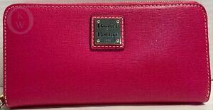 NWT*Dooney & Bourke*HOT PINK*Saffiano Leather*Zip around Wallet 17117R S165