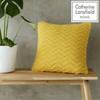 Catherine Lansfield Chevron Knit Ochre Yellow Knitted Unfilled Cushion Cover