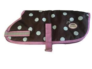 "JOULES by WeatherBeeta Waterproof Polka Dots Dog Coat Size 60cm x 24"""