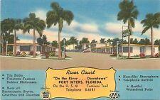 Florida, FL, Fort Myers, River Court Linen Postcard