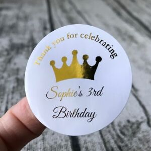 Silver Rose Gold Foil Personalized Birthday Crown Gift Labels Thank You Stickers