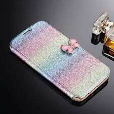 Bling Glitter Wallet Magnetic Flip Colorful Leather Case Cover For Apple Samsung