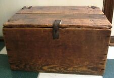 Vintage Primitive  Decorated Inside Wood Toy Storage Box Chest