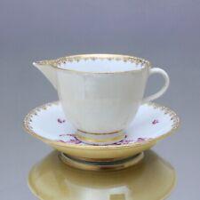 Meissen um 1770: seltener Rahmgießer mit Untertasse, indisch Purpur, Milchkaffee