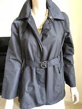 Max Mara RainWear Italy Trench Coat Top Black Us 8