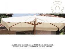 Sonnenschirm in holz 200x300 cm 2x3 mt top weiß schwimmbad garten meer