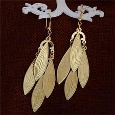 Women's girls Fashion Jewelry Yellow Gold Filled Leaf Earrings drop dangle