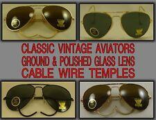 Ground & Polished Glass Lens Aviator Sunglasses Cable Temples Optical Frame 1 pr