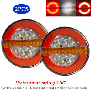 1 Pair 4'' 24V LED Car Truck Trailer Tail Lights Turn Signal Reverse Brake Rear
