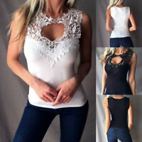 Womens Lace Camisole Tank Tops Vest Sleeveless Loose Beach Casual T-Shirt Blouse