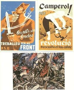 SPANISH CIVIL WAR & GERMAN SOCIALIST & ANARCHIST UNUSED POSTCARD REPRODUCTIONS