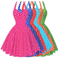 Womens Vintage Style Dress Polka Dot Swing 50s 60s HOUSEWIFE Pinup Party Casual