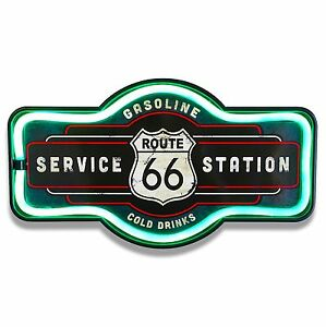 """Route 66 LED Neon Lighted Sign, 17"""" Marquee Shape, For Bar, Garage, or Man Cave"""
