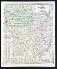 New Listing1860 Missouri Iowa Illinois Map Chicago St Louis Des Moines Madrid Peoria Exrare