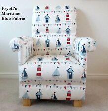 Fryetts Maritime Blue Fabric Adult Chair Armchair Ships Nautical Boats Nursery