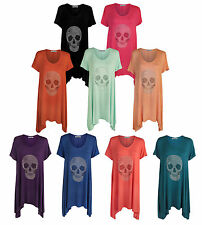 New  Plus Size Womens Stud Sequin Skull Print Hanky Hem Top 14-28