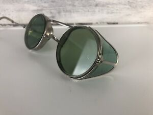 Antique Green Sunglasses Goggles Safety Old Vtg Steampunk Glasses Damage