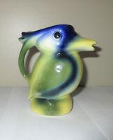 Vtg California Pottery by Artistic Bird Pitcher Creamer MCM Tropical Duck Toucan