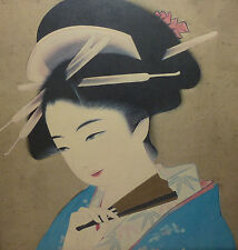 Asiatika Japan Geisha mit Fächer colorierte Grafik Japanerin Person der Künste