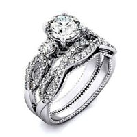 Round cut Diamond 14k White Gold 925 Sterling Silver Engagement Ring Wedding Set
