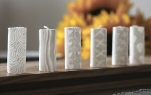 6 white small candles - patterned glowing fair trade ethical mini dinner set